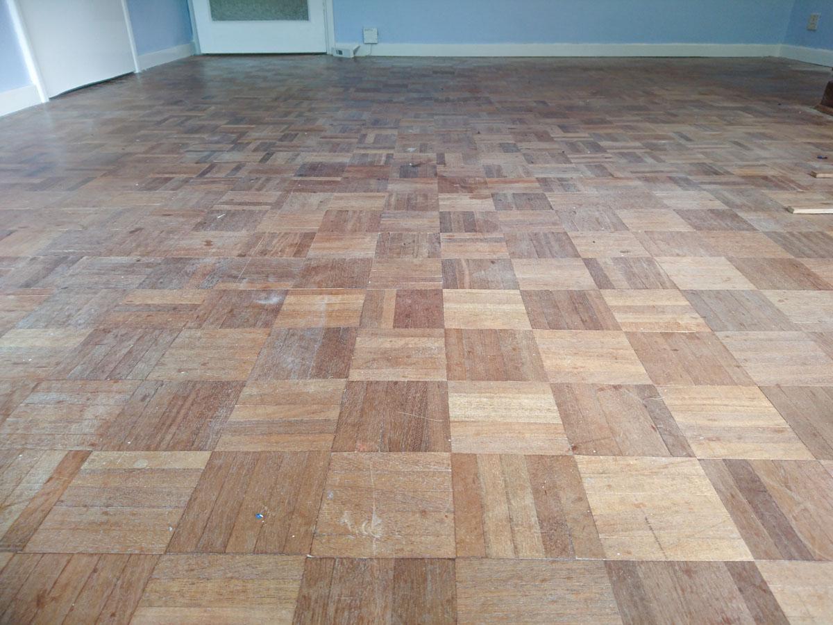 Mahogany Mosaic Finger Flooring Restoration Richmond